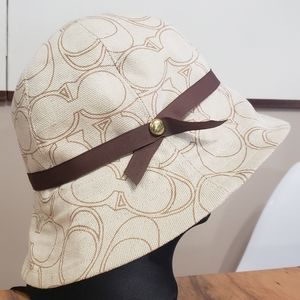 Coach Bucket/Sun Hat with Ribbon & Bling NWOT